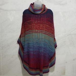 Wrangler Knit Rainbow Poncho Cowl Neck Boho Small